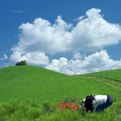 wife and poppies (Franco Marconi) Tags: sky italy green clouds landscape europe italia gallery mood fuji s paisagem finepix poppies wife fujifilm  landschaft fujinon marche paesaggio franco processor sensor marconi ascoli pemandangan landskap  lemarche ascolipiceno  piceno f20 cmos 2011 x100   landslag fujifilmfinepix exr krajobraz crocerossa apsc  fujix montedinove  francomarconi fujifilmx100 finepixx100 fujix100 fujifilmfinepixx100 x100 fujinon23mmf20 fujinon23mm fujinonf20