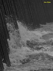 Splash (alexinatempa) Tags: swansea wales marina mono wave seawall