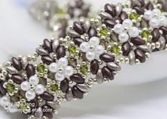 Ayesha in Silvery Chocolate (BeeJang - Piratchada) Tags: beadweaving beadwork beading chocolate silver miyuki swarovski olivine pearl superduo bracelet jewelry handmade