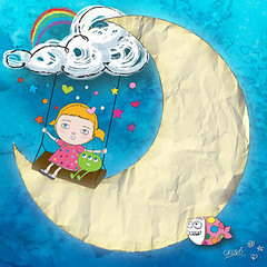 ...this happy (crosti) Tags: sky cloud moon fish cute green love girl illustration paper happy book flying peace child christina alien swing childrens illustrator watercolours bizzare tsevis crosti