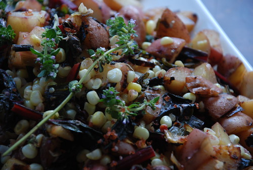 potatoes with red chard, fresh corn, and flowering thyme