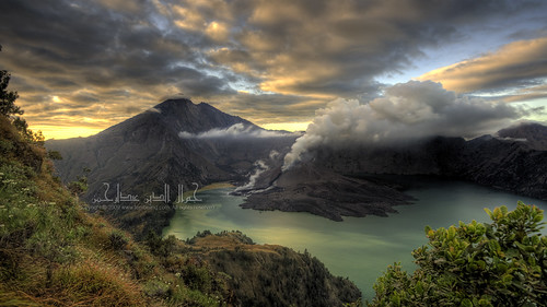The Mount Rinjani & the Mount Baru emerged from Segara Anak Lake
