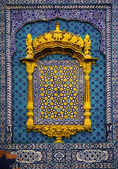 True Blue, Sachal. (Explored) (Commoner28th) Tags: blue pakistan colors wall sharif gold golden design poetry colours geometry colorfull poet caligraphy ahmed sufi kashi fresco sindh indus agha sachal waseem commoner khairpur sukkur ranipur commoner28th daraza sachalsarmast
