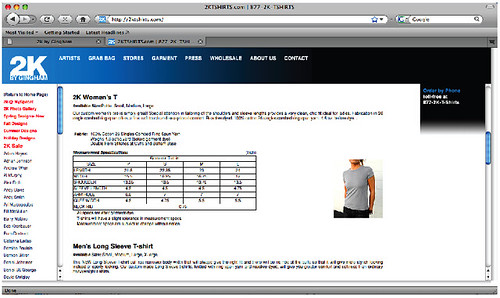 Frustrating online retailer sizing chart