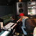 pharrell williams in studio at work