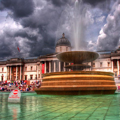 The National Gallery (Joebelle) Tags: london water fountain clouds canon square geotagged trafalgar trafalgarsquare nationalgallery geotag hdr photomatix 40d worldicon canon40d platinumheartaward