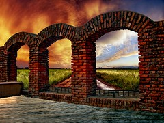 Arches - On Explore (sir_watkyn) Tags: sky india nature wall architecture clouds composition ruins horizon arches explore hues fields on mywinners abigfave platinumphoto anawesomeshot impressedbeauty ysplix theunforgettablepictures sirwatkyn graphicmaster