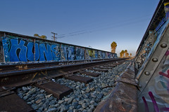 My 1000th Upload (johnwilliamsphd) Tags: ca railroad trestle bridge blue trees sky copyright metal john carson graffiti la losangeles rust track williams c tie overpass palm powerlines socal southerncalifornia gravel  williams john johncwilliams johnwilliamsphd phd