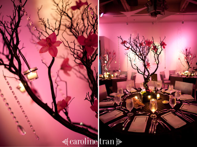 The centerpieces were manzinita branches adorned with pink orchids