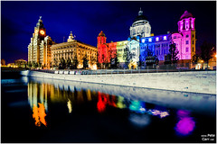 Art on the waterfront (petecarr) Tags: lighting longexposure art liverpool reflections lights waterfront dusk wideangle 3graces luminocity portofliverpoolbuilding canallink
