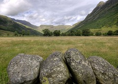 England: Cumbria - Mickleden Valley and The Pike of Stickle (Tim Blessed) Tags: uk trees sky mountains nature clouds landscapes countryside scenery cumbria lakedistrictnationalpark singlerawtonemapped vanagram
