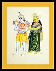 season's greetings (Avanibhajana) Tags: family india art heritage painting happy ganesh watercolour colourful shiva visual calcutta westbengal kalighat kalighatpaintings