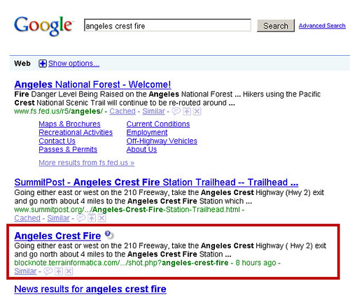 Angeles Crest Fire - Malicious Search Result