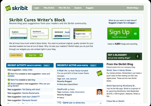 Cure Writer's Block- Skribit