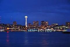 Space Needle in Nighttime Skyline - Seattle, Washington, USA (waynedunlap) Tags: world seattle travel sky usa skyline night harbor washington space line nighttime needle now gurus unhook unhooknow