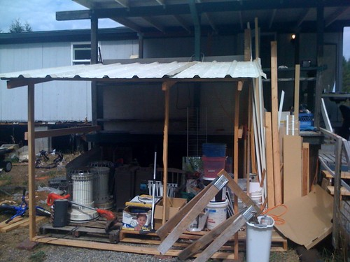The beginning of our temporary shed!