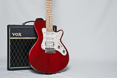 Guitar (The GlassPeople) Tags: red music guitar amp instrument vox godin