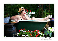 Day Dreamer (Jennifer McCready Photography/Lady Luck Pin Ups) Tags: red portrait blackandwhite woman ontario canada cute closeup fun model lips tub redlips bathtub 50s dork pinup jordon baillie jennifermccreadyphotography styledwithkare toxxicrainbowcostmetics