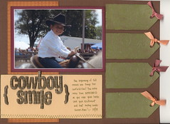 Cowboy Smile (kerrycwills) Tags: lines layout cowboy fallcolors tags september ribbon heroarts houndstooth 85x11 americancrafts singlephoto thickers f3342 k5153 k5175 s5218