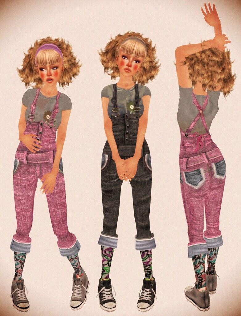 kuri style denim overalls gr+pnk