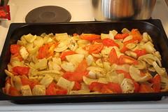 Till soppan rostades det grönsaker i ugn