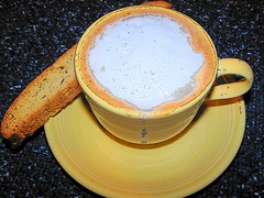 Good morning! (PATierney) Tags: coffee yellow breakfast altered image drink eat fiestaware biscotti