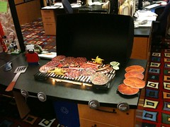 Wayne's Grill (wbrowar) Tags: birthday fire diy hotdog office desk decoration grill christmaslights steak hamburger surprise foamcore