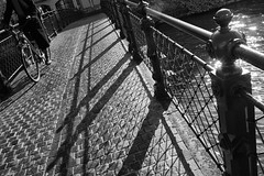 Cyclist (guajava) Tags: street city bridge vacation people urban blackandwhite bw holiday france monochrome bike bicycle day cyclist outdoor 28mm sigma strasbourg alsace railing foveon basrhin dp1