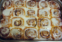 Freshly glazed homemade cinnamon rolls