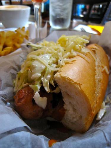 Texalina: pork and beef sausage, grilled coleslaw, carolina mustard bbq sauce, white cheddar $7