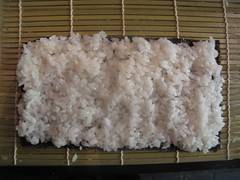 Spread the rice on the nori sheet