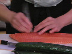 Deboning the salmon with tweezers