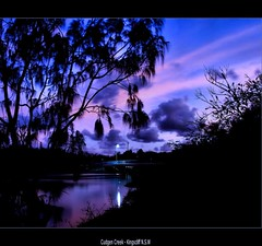 Evening Colours (whoops vision) Tags: bridge trees light water creek reflections river evening twilight shoreline kingscliff eveningcolours cudgencreek
