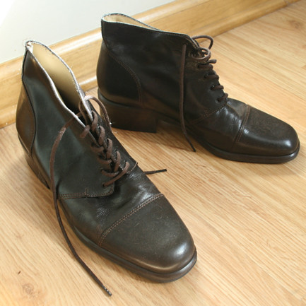 Dark Brown Leather Lace Up Oxford Granny Booties 7.5M