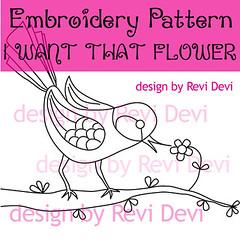 I Want That Flower1 (revi1001) Tags: branch etsybirdiebirdanimalnaturewhimsicalrevi1001patterndiyhomedecorillustrationoutline