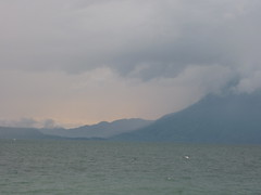 Looking out as the storm rolled in over lake Atitlan.