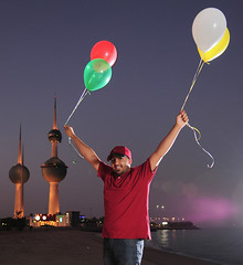 20th of november (H.AL-SALEH) Tags: birthday november red white green yellow bluehour kuwait ballons mybirthday 2011 kuwaittower q817 kvwc halsaleh 20112009 hamidalsaleh