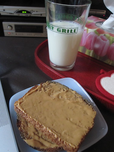 Peanut butter toast and milk