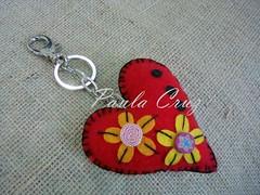 Chaveiro em feltro - Corao (Paula Cruz - Polymer Clay Artist) Tags: corao feltro chaveiro feltheart botesemcermicaplstica