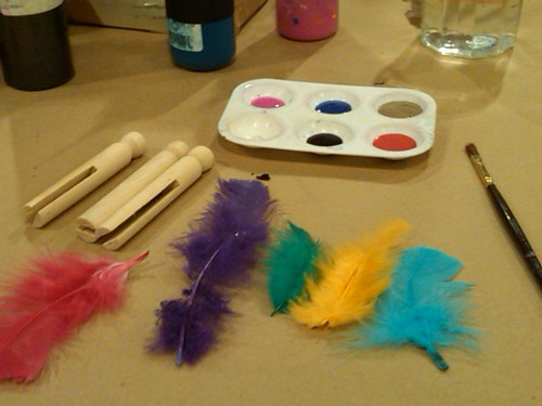 Pins, check. Paint, check. Feathers, check.