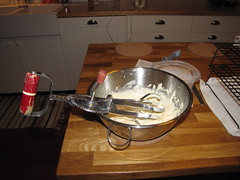 I even used an old egg beater to whip up the icing. Much quieter than an electric mixer.