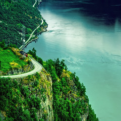 Winding Road to Fjords hdr (Faisal!) Tags: road sea mountain nature water beauty norway norge is ship earth deep norwegian winding processed hdr edit geiranger romsdal geirangerfjord cs3 möre