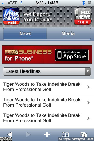 Tiger Woods on Fox Mobile