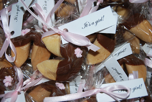 Asian themed chocolate dipped fortune cookie baby shower party favors