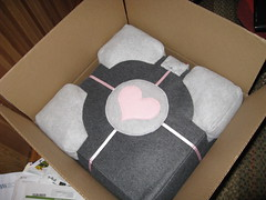 Unfinished Companion Cube in shipping box
