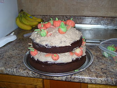 FIRST cake tasted good at least (CustomCreationsCupcakes) Tags: cake pumpkin marzipan tier