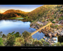 Cataract Gorge, Launceston, Tasmania :: HDR (Artie | Photography :: I'm a lazy boy :)) Tags: bridge trees sunset reflection nature water rock photoshop canon river lens landscape sand rocks cs2 suspension tripod sigma australia wideangle shore tasmania gorge ripples 1020mm hdr launceston foreshore artie cataractgorge 3xp photomatix alexandrasuspensionbridge tonemapping tonemap vegetations 400d rebelxti firstbasin