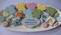 Baby Shower Platter (Songbird Sweets) Tags: alligator lion peacock giraffe hippo babyshower onesie sugarcookies