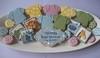 Baby Shower Platter (Songbird Sweets) Tags: alligator lion peacock giraffe hippo babyshower onesie sugarcookies