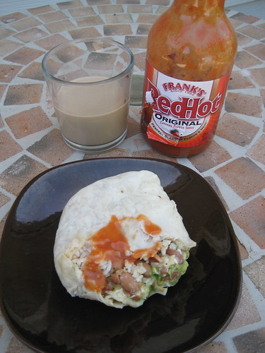 burrito, iced coffee, Frank's Red Hot